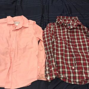 Two button up long sleeves shirts.